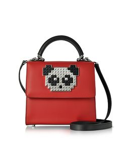 Les Petits Joueurs | Mini Alex Metal Panda Leather Satchel Bag