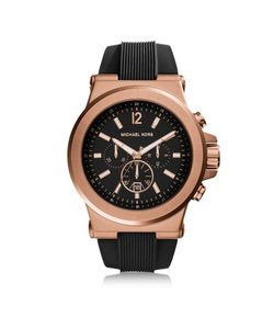 Michael Kors | Dylan Rose Tone Stainless Steel Case And Black Silicone Strap Mens Crono Watch