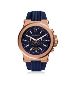 Michael Kors | Dylan Rose Tone Stainless Steel Case And Blue Silicone Strap Mens Crono Watch