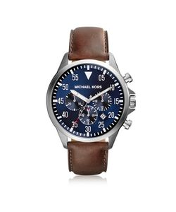 Michael Kors | Gage Tone Stainless Steel Case And Brown Leather Strap Mens Chrono Watch