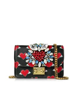Gedebe | Designer Handbags Mini Clicky Flying Hearts Leather Clutch