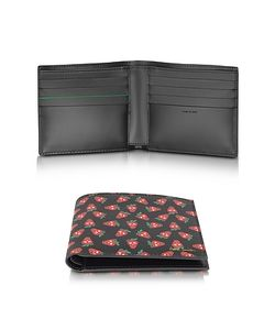 Paul Smith | Leather Strawberry Skull Print Billfold Wallet