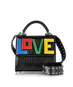 Les Petits Joueurs | Mini Alex Rainbow Love Embossed Leather Satchel Bag