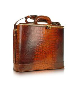Pratesi | Designer Briefcases Croco Stamped Leather Laptop Business Bag W/Courtesy Light