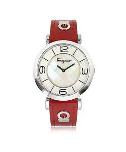 Salvatore Ferragamo | Gancino Deco Collection Tone Stainless Steel Case And Leather Strap