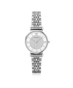 Emporio Armani | T-Bar Silvertone Stainless Steel Watch W/Crystals Dial
