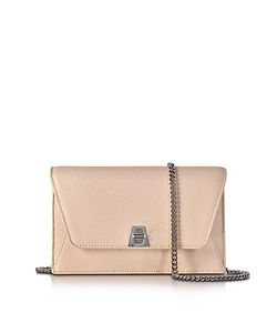 Akris | Anouk Pale Rose Pebbled Leather Clutch W/Chain