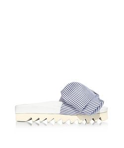 Joshua Sanders | Skinny Stripes Bow Cotton Slides Sandals
