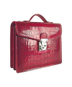 L.A.P.A. | Croco-Embossed Double Gusset Compact Briefcase