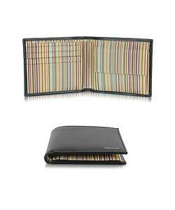 Paul Smith | Leather And Signature Stripe Interior Billfold And Coin Wallet