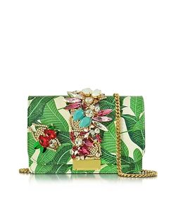 Gedebe | Clicky Snake Leather Leaves Clutch