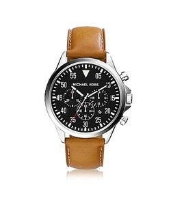 Michael Kors   Gage Tone Stainless Steel Case And Cognac Leather Strap