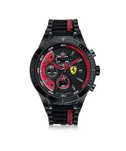 Ferrari   Redrev Evo And Stainless Steel Case And Silicone Strap