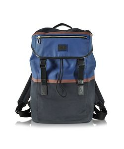 Paul Smith | Color Block Cotton W/Leather Trim Backpack