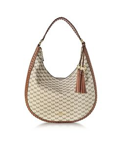 Michael Kors | Lauryn Large Natural And Luggage Pebble Leather Shoulder Bag