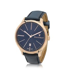 Maserati   Attrazione Tone Stainless Steel Case And Navy Leather Strap