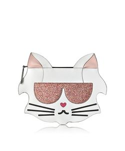 Karl Lagerfeld | Choupette Safiano Leather Flat Pouch