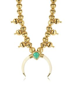 Aurelie Bidermann | Navaho Plated Horn And Turquoise Pendant Necklace