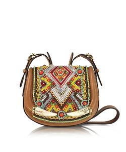 Roberto Cavalli | Horn And Beads Embroidery Leather Shoulder Bag