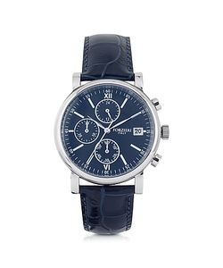 Forzieri   Berlino Tone Stainless Steel Case And Genuine Embossed Leather