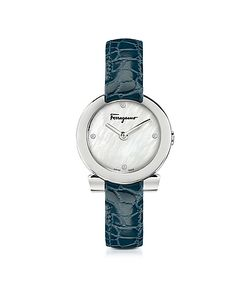 Salvatore Ferragamo | Gancino Stainless Steel And Diamonds Watch W Croco Embossed Strap