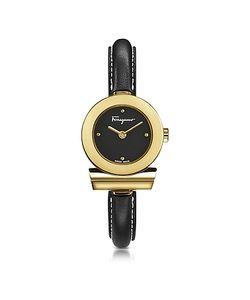 Salvatore Ferragamo | Gancino Ip Stainless Steel And Leather Strap Watch