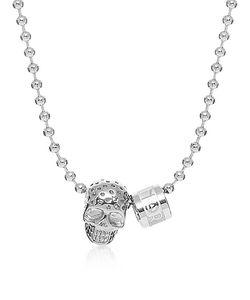 NORTHSKULL | Perforated Skull Pendant W Logo Wheel Ball Necklace