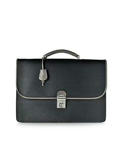 Pineider | City Chic And Fabric Leather Briefcase