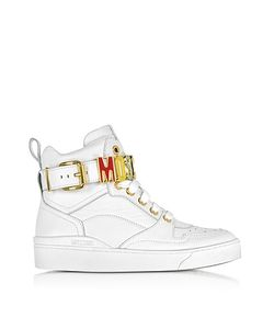 Moschino | Optic Leather High Top Sneakers W Signature Logo