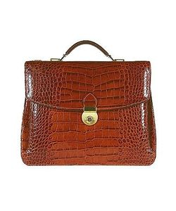 L.A.P.A. | Croco-Embossed Double Gusset Briefcase