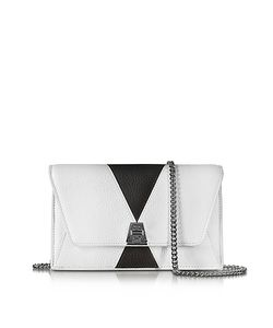 Akris | Anouk Color Block Pebbled Leather Clutch W/Chain