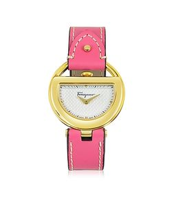 Salvatore Ferragamo | Buckle Collection Ip Stainless Steel Case And Fuchsia Leather Strap