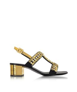 Giuseppe Zanotti | Laminated Leather Mid Heel Sandals W/Crystals