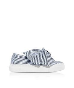 Joshua Sanders | Skinny Stripes Bow Cotton Slip On Sneakers