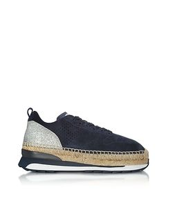 Hogan | Deep Perforated Suede Lace Up Sneakers W/Glitter