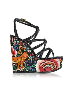 Roberto Cavalli | Embroidered Leather Wedges