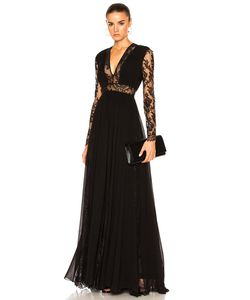 Zuhair Murad | Georgette Lace V Neck Gown