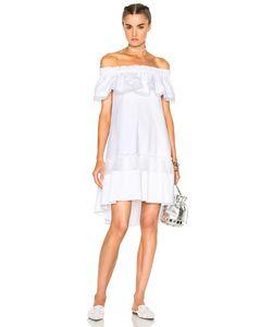 Alberta Ferretti   Cotton Satin Off The Shoulder Dress