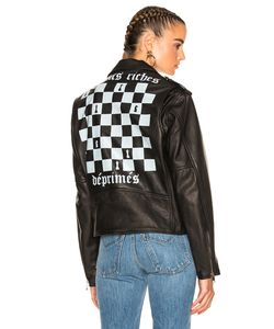 Enfants Riches Deprimes | Checker Board Print Leather Jacket