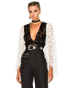 Rodarte | Pleather Deep V-Neck Blouse