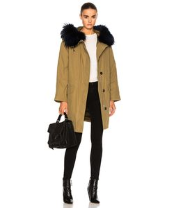 Army Yves Salomon | Classic Cotton Parka Jacket With Racoon Fur