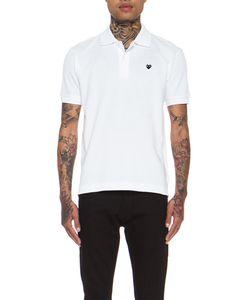 Comme Des Garçons Play   Small Black Emblem Cotton Polo