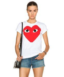 Comme Des Garçons Play   Cotton Red Heart Emblem Tee