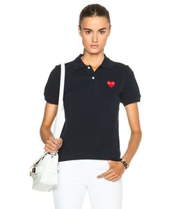 Comme Des Garçons Play   Cotton Polo With Red Emblem