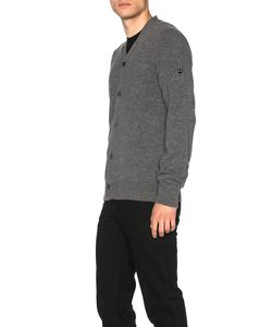 Comme Des Garçons Play   Lambswool Cardigan With Small Black Emblem Sleeve