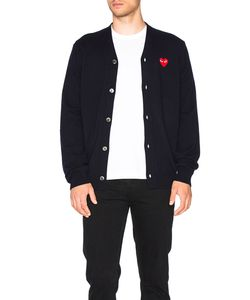 Comme Des Garçons Play   Lambswool Cardigan With Red Emblem