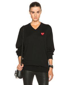 Comme Des Garçons Play   Wool Jersey Intarsia Red Emblem Sweater