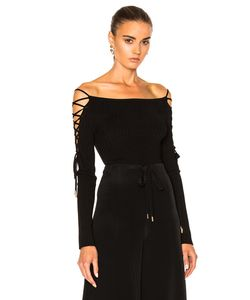 Cushnie Et Ochs | Boatneck Lace Up Sleeve Bodysuit