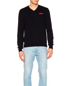 Comme Des Garçons Play   V Neck Double Emblem Sweater