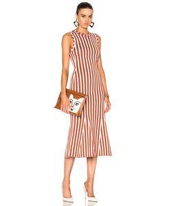 Victoria Beckham   Wide Stripe Intarsia Fitted Kick Dress